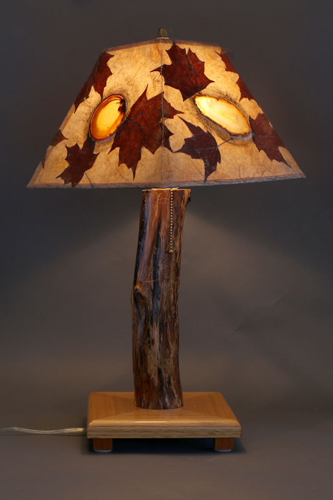Hand Crafted Rustic Wood Lamp With Oak Base Elm Stem