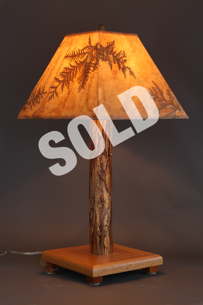 Wonderful Hand Crafted Rustic Wood Lamp With Oak Base, Elm Stem And Cedar Leaf Shade