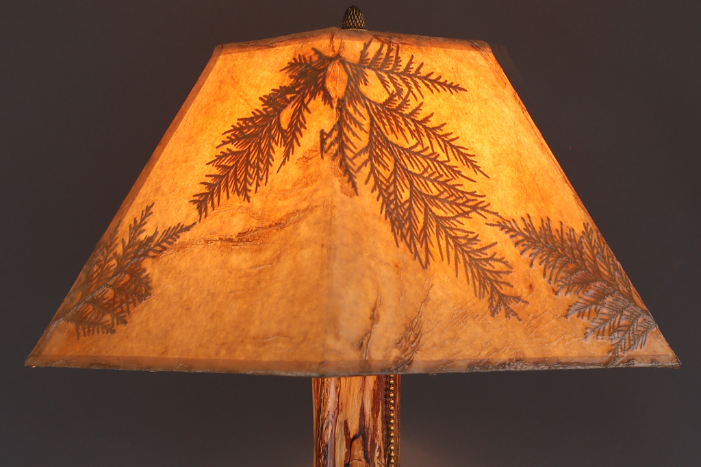 Hand Crafted Rustic Wood Lamp With Oak Base Elm Stem And