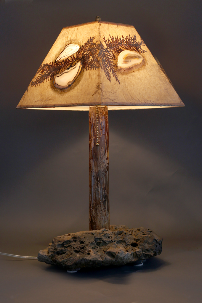 Hand Crafted Rustic Wood Lamp With Stone Base, Elm Stem, Agate And Cedar  Leaf Shade