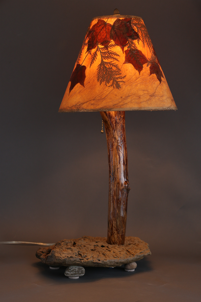 Hand Crafted Rustic Lamp With Stone Base Elm Stem With