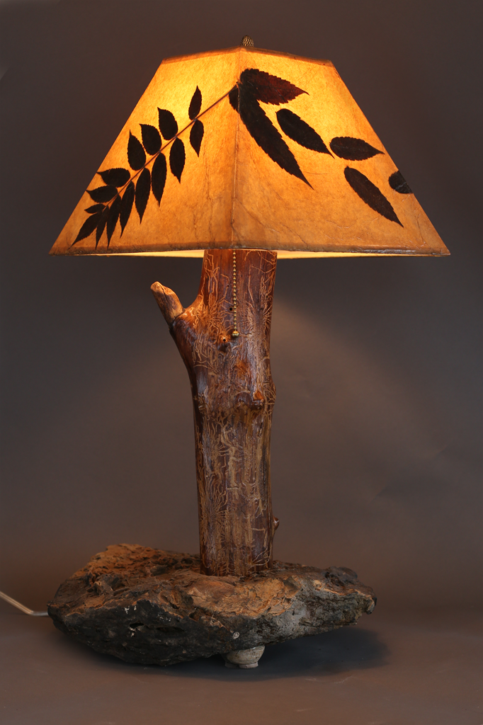 Hand Crafted Rustic Wood Lamp With Stone Base Elm Stem And Sumac Leaf Shade